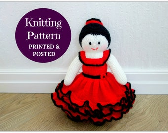 Printed Spanish Flamenco Doll Knitting Pattern - Doll Knit Pattern