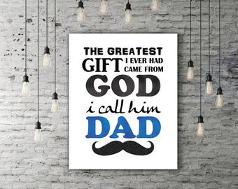 Black And Blue Father Birthday Gift, Fathers Day Art, Fathers Day Decor, Fathers Day Print, Fathers Day Present For Him, Mustache Print