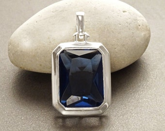 Rectangle Sapphire Color Pendant, Sterling Silver, Vintage Jewelry, Big Blue Stone, Cobalt Deep Blue, Statement Octagon Rectangle,Women Gift