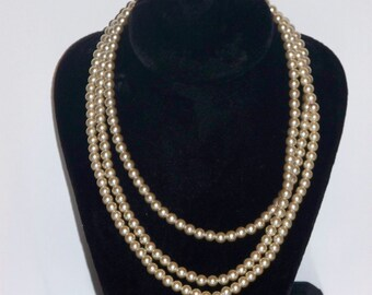 Pearl Like Bead Wrap Around Necklace 54""