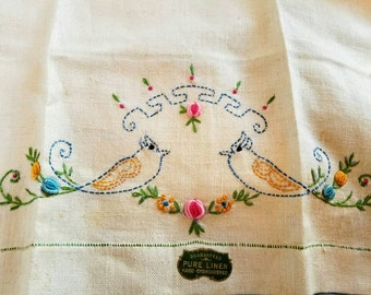 Blue Birds Linen Towel - Display  Towel - Rosettes - Linen Tea Towel - Linen Kitchen Towel - Hand Embroidered - Guest Bathroom - Bird Lover