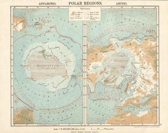1906 map of polar region arctic and antarctic. antique map vintage wall decor