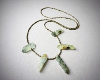 Long bohemian necklace, Prehnite gemstone, metal beads, heart chakra, boho beach necklace, green stone, crystal statement necklace, antique