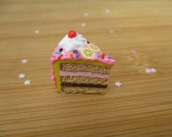 Banana Split Cake Magnet, Handmade Polymer Clay Kawaii