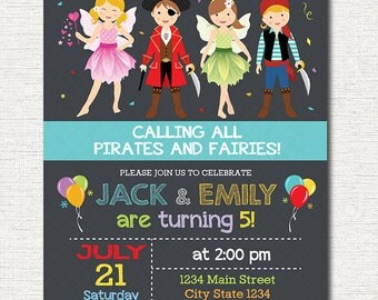 Pirates and Fairies Invitation, Pirates invitation, Fairies Invitation, printable