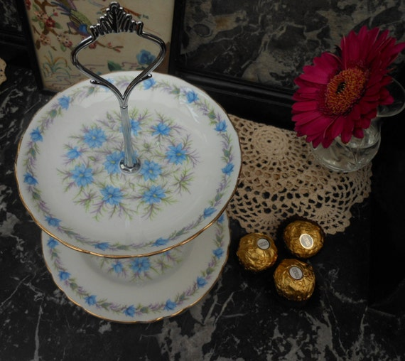 SALE 20% Off...Vintage CAKE STAND - 1940's - Jewellery Stand - Love in a Mist - English Bone China - Valentine's - China plates - Tea Party