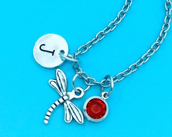 Cute dragonfly necklace, lovely dragonfly charm necklace, personalized necklace, custom charm pendant, initial necklace, dragonfly pendant