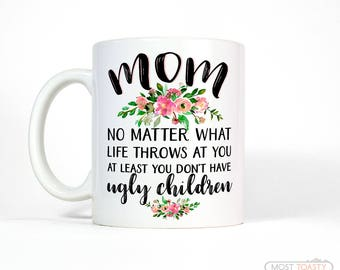 Funny Mom Mug | Mom Birthday Gift from Daughter | Funny Coffee Mug Mom | Gift for Mom from Daughter | Gift for Mom Gift | Floral Mug
