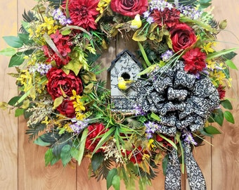 Red Rose Wreath, X-Large Door Wreath, Spring Summer Wreath, Bird House, Scroll Design,  Birds, Grapevine Wreath, Mother's Day, Housewarming