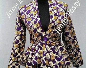 African Blazer,African ASYMMETRIC PEPLUM Top,Ankara Blouse,African clothing peplum Ankara top ruffle peplum top available in size 0 to 20