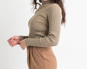 90s Taupe Ribbed Turtleneck