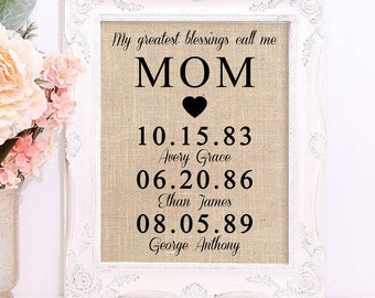 Personalized Gift for MOM, Mother's Day Gift, Gift for mom, My Greatest Blessings Call Me Mom