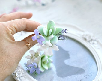 succulent wedding hair accessory boho bridal succulent jewelry mint succulent mint wedding hair piece succulent hair pin floral hair piece