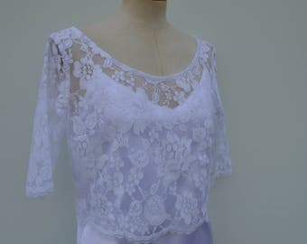 Clearance sale - 30% warmer shoulder lace, white top, Bridal lace top, white crop top