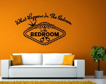 Adult Bedroom Quote Sign What Happens Stays Wall Stickers Decals Vinyl Mural Decor Art L2127