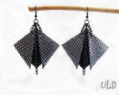 Black leather geometric earrings - Handmade leather jewelry by Uniqueleatherdesign