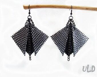 Black leather geometric earrings Uniqueleatherdesign