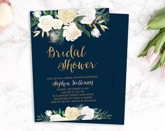 Bridal Shower Invitation, Floral Bridal Shower Invitation, Printable Navy Gold Bridal Shower Invite, Boho Chic Bridal Shower Invite