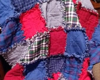Rag Quilt, Raggedy Quilt, Plaid Flannel, Flannel, Lap Quilt