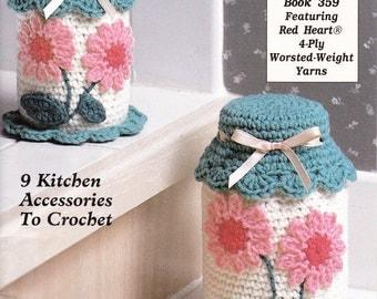 Cottage 9 Projects Kitchen Accents Pattern Book by Red Heart Crochet Instructions