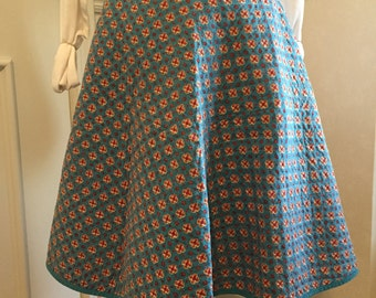 Vintage super cute Reversible quilted turquoise cuorduroy swing skirt, 1950's