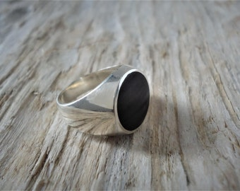 Pinky ring in 925% Silver Black agate, round ring, ring man, chavalier model, female, unisex