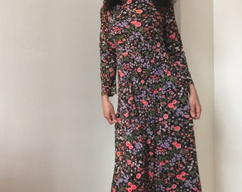 70s Aramase Maxi Floral Gown Dress with Mock Turtleneck
