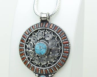 Sincere Work of Art! Layered Coral Turquoise Native Tribal Ethnic Vintage Nepal Tibetan Jewelry OXIDIZED Silver Pendant + Chain P3997
