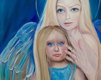 Pleiadian Godmother, oil painting,  24×28, angelic art, spiritual art, wall art, home decor