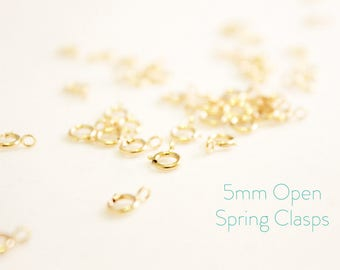25 Pieces - 14k Gold Filled Spring Clasps - 5mm Open Spring Clasp - Jewelry Closure - Gold Clasp - Findings - Jewelry Supplies / GF-SC001