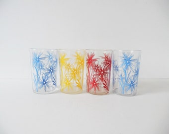 Mid Century Glasses Set of 4 Vintage barware Vintage Tumblers Juice Glasses Vintage floral glasses Vintage flower glasses Blue yellow red