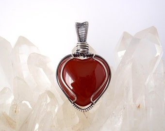 RESERVED for Carly ~ Carnelian Heart Pendant ~ Handcrafted with Eco-Friendly Recycled Sterling Silver ~ Rich Red Stone ~ Empowering Talisman