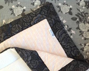 Pink baby girl crib bedding set blanket flowery grey fitted sheet set girl nursery transition bed