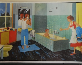 Huge French classroom double sided poster. School poster from the 60s showing The bathroom and the Department Store.