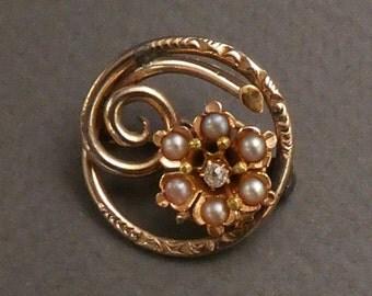 10K Pearls & diamond brooch c1900