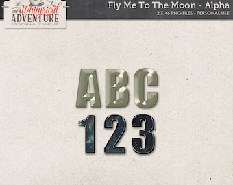Uppercase Letters, Metal Numbers, Alphabet Clipart, Symbols And Punctuation, Outer Space, Sci-Fi, To The Moon And Back, Instant Download