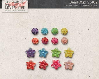 Beads, Roses, Iridiscent Flower Beads, Digital Scrapbooking Elements Commercial Use OK, Digital Download, Colorful Trinkets, Bead Mix