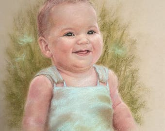 11x14 or 16x20 One Subject Custom Soft Pastel Portrait from Your Photo - Child, Adult, Pet - Gift for parents, grandparents, mother, father
