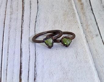 Raw peridot ring, raw ring, peridot ring, raw crystal ring, raw stone ring, electroformed ring, electroformed ring, August birthstone ring