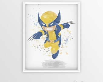 Wolverine Xmen Watercolor Superhero Wolverine Art Wolverine Poster Print - Nursery Watercolor Painting - Kids Decor - X-men Illustration Art