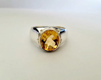 Mens Citrine Ring - Citrine Mens Ring - Silver Citrine Ring - Yellow Citrine Jewelry- Mens Jewelry - November Birthstone