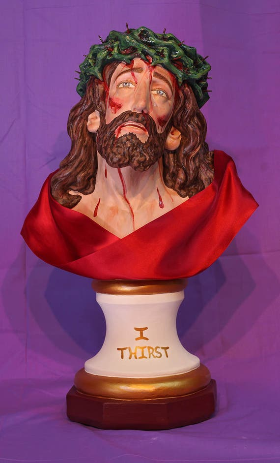 "Holy Face of Jesus Bust 19"" Passion of Christ Sorrowful Catholic Christian Plaster Statue"