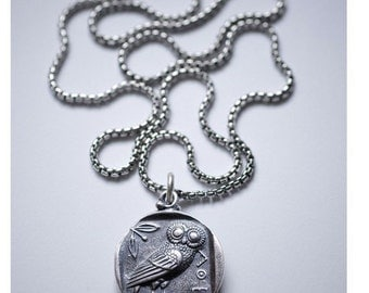 Sterling Silver Greek Owl Coin Necklace, Silver Athena Pendant, Silver Athena Necklace, Owl Pendant, Greek Owl Necklace, 925 Greek Athena