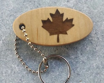 Handcrafted Canadian Maple Leaf Key Chain Fob