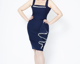 Navy blue exotic pencil dress with mexican pompom trims