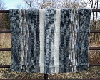 Afghan/Knit Afghan/Throw/Knit Throw/Blanket/Knit/Sofa Throw/Lap Blanket/Gray/Grey/Cream/Blue/Brown/Vintage/90's/Handmade/Hand Knit