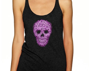 sugar skull shirt, day of the dead, racerback tank top, purple flowers, skull shirt, halloween, sugar skull clothing, dia de los muertos