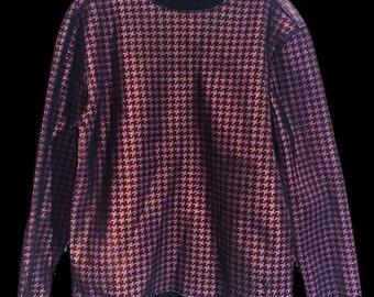 Houndstooth printed neoprene sweatshirt