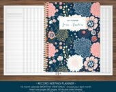 2018 2019 record keeping monthly planner for teachers / 12 month teacher RECORD KEEPING PLANNER - no weekly pages / navy pink gold floral