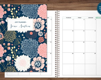 2017 2018 MONTHLY planner custom planner month at a glance planner calendar MAG / choose your start month / navy pink gold floral